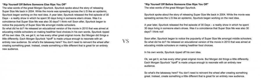 long vs short paragraph comparison